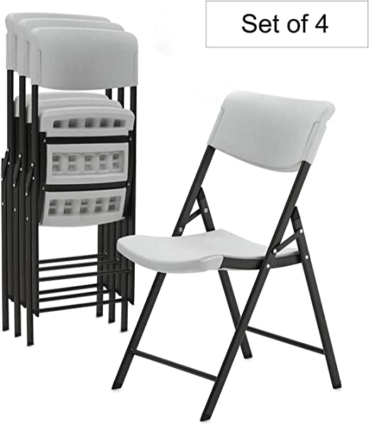 Plastic Folding Chairs For Party Stackable Chairs Kitchen Dinning Room Chairs Molded Commercial Portable Chairs 4 Pack Grey