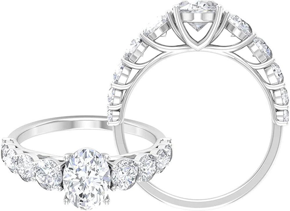 2.70 CT D-VSSI Moissanite Engagement Ring, Solitaire Ring with Side Stones, Gold Jewelry, 14K Gold