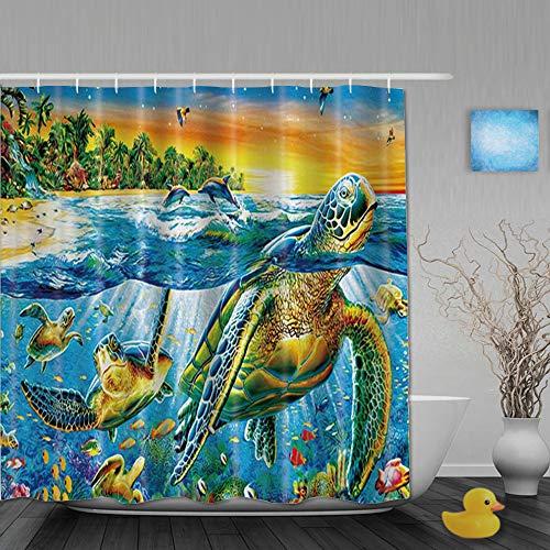 Honeytecs Duschvorhang,Coconut Tree Bay Turtles Schwimmen und Delfine Spielen,Bad Vorhang Waschbar Bad Vorhang Polyester Stoff mit 12 Kunststoffhaken 180x180cm