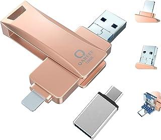 USB フラッシュドライブ 4in1 iphone用 usb 128GB フラッシュメモリー USBメモリー アイフォンメモリ 最新版 USBメモリ IOS Android PC USB 両面挿し データ転送 容量不足解消 亜鉛合金製 防塵 耐...