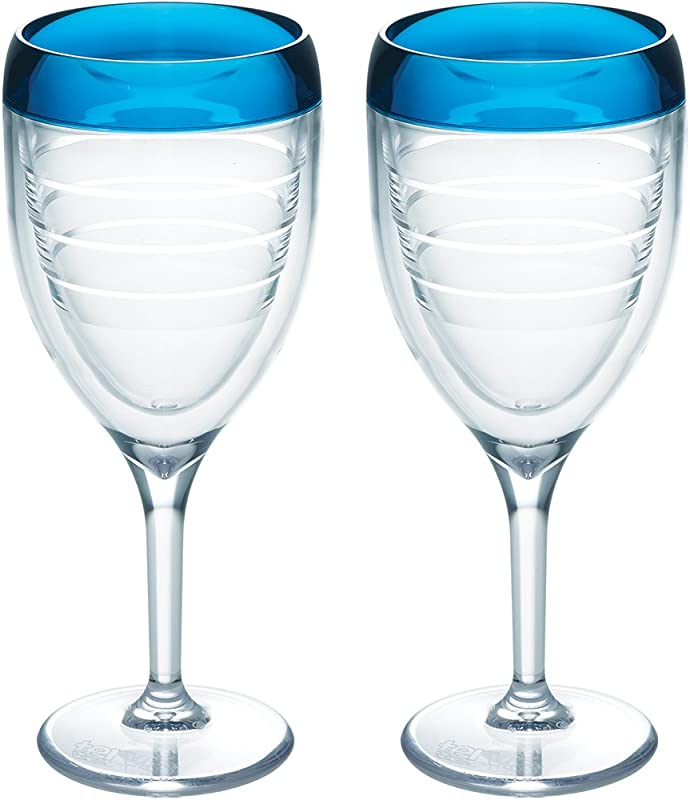 Tervis 1198285 Insulated Tumbler 2 Pack Boxed 9oz Wine Glass Blue Infusion Beachfront Blue
