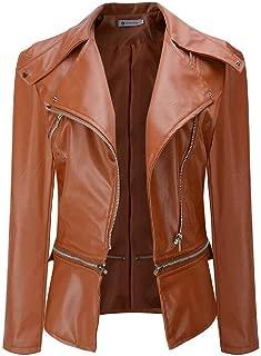 FSSE Womens Fashion Oblique Zipper Faux Leather Moto Biker Short Jacket