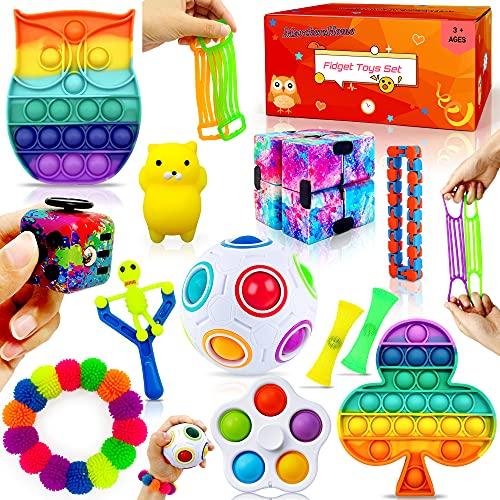 MarckersHome Ensemble de jouets agités Pack de jouets agités con Cube Infini Pousser la bulle 14 Piezas Autismo Alivio del estrés Anti-ansiedad sensorial apretar el Aula Oficina Regalo niños A