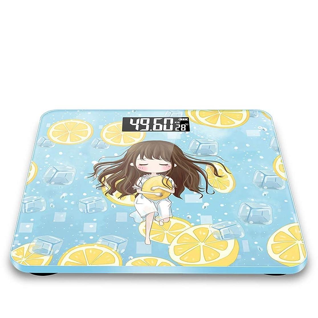 自体敬比率体重計?体脂肪計 電子スケール人間のスケール健康のスケール充電式レモンの女の子側ポータブル強化ガラス (Color : Blue, Size : 28 * 2cm)