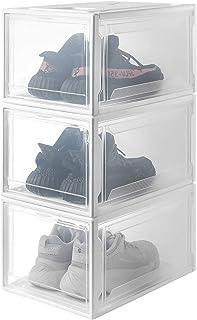 Yorbay Cajas de Zapatos apilable, Paquete de 3, Transparente Plástica,Grande Organizador de Cajas de Almacenamiento de Zapatos Blanco Reutilizable