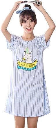 36acf74417 Big Girls  Teen Girls Cute Unicorn Pajamas Striped Short Sleeves Sleepwear  Dress Nightgowns