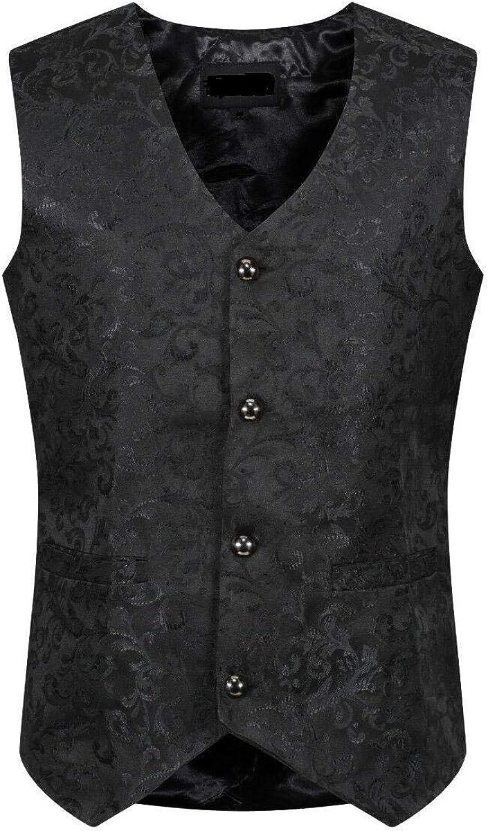 Darkrock Medieval Renaissance Steampunk Men Single Breasted Suit Vest Brocade Waistcoat