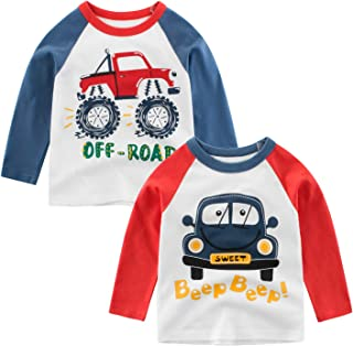 Jagrove Toddler Little Boys T Shirts 2 Pack Long Sleeve Crewneck Top Tee Dinosaur Car Letter Printed Shirts for 2-7 Years