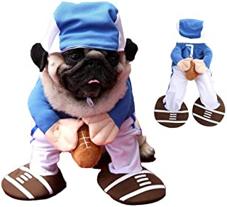 Youbedo Football Dog Costume Halloween Funny Rugby Player Suit Cosplay Costume for Pet Party Apparel