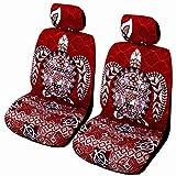 Red Big Honu Hawaiian Separate Headrest Car Seat Cover; Made in Hawaii - Set of 2