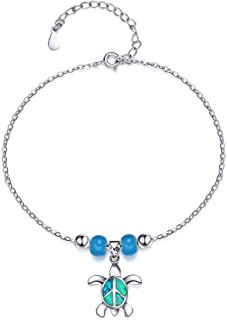 S SIFUNUO Anklets Sterling Silver Opal Turtle Anklet Barefoot Ankle Chain Beach Jewellery Charm for Women Blue