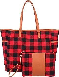 Women 2ps Buffalo Plaid/Tan Leopard Tote and Wristlet Set Personalized Tote Bag Handbag,Shoulder Bag for Women