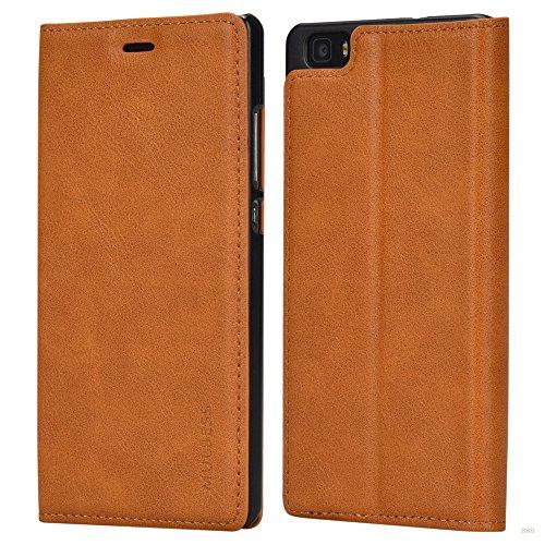 Mulbess Huawei P8 Lite Hülle, Leder Flip Klapphülle Schutzhülle Handytasche für Huawei P8 Lite 2015 Handy Tasche Cover Etui, Braun