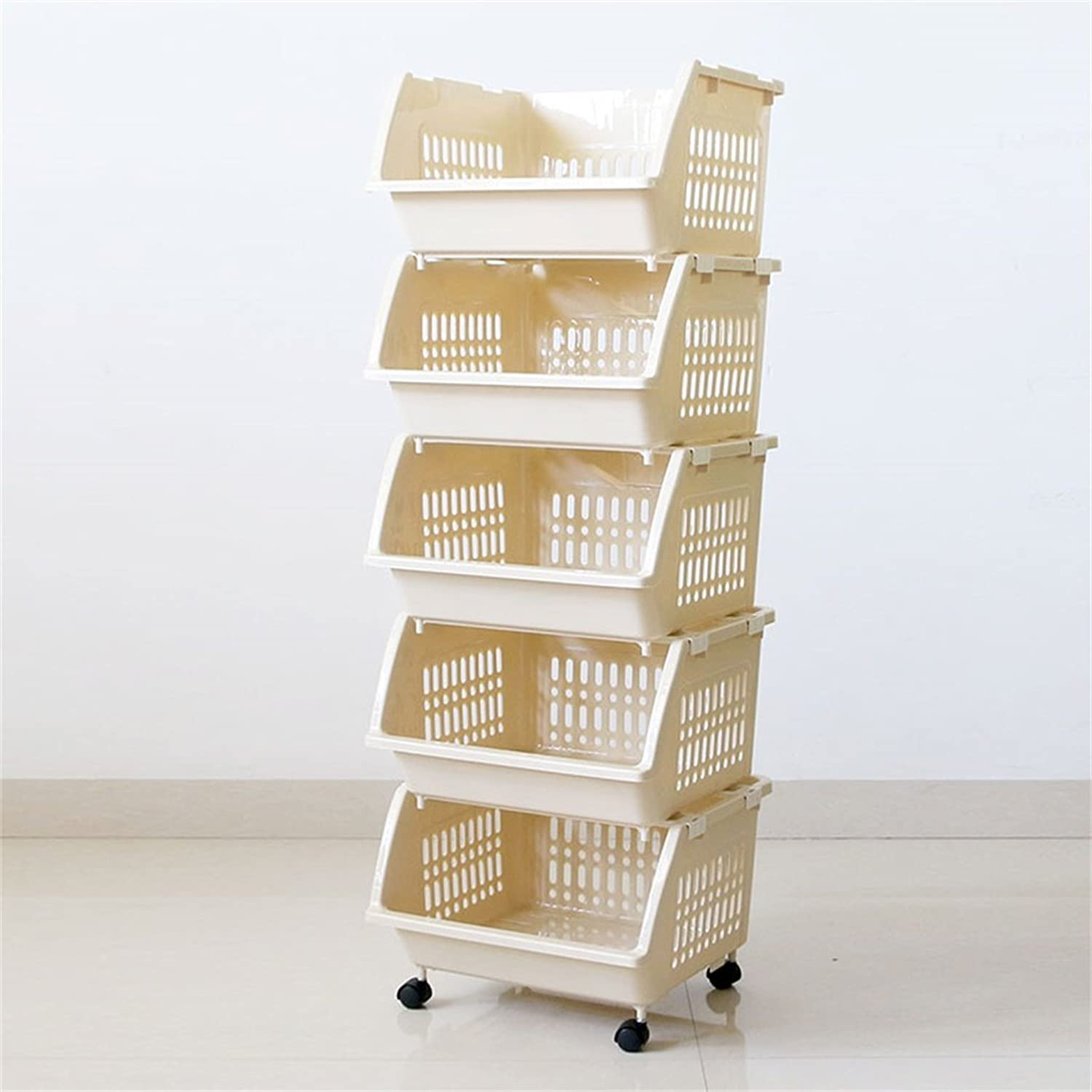 Cqq Shelf Bathroom Storage Box Bath Room Shelf Floor Type Kitchen Put Vegetables Racks Multi-Storey Household Fruit Storage Baskets Removable Storage Rack (Size   39  114cm)