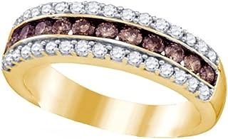 Brandy Diamond Chocolate Brown 10k Yellow Gold Beautiful Exquisite Eternity Ring 1.00 Ctw.