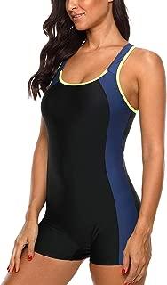 Women Boyleg One Piece Swimsuit Athletic Racerback Swimwear Bathing Suit