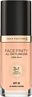 Max Factor Facefinity All Day Flawless 3 in 1 Liquid Foundation, 45 Warm Almond, 30ml