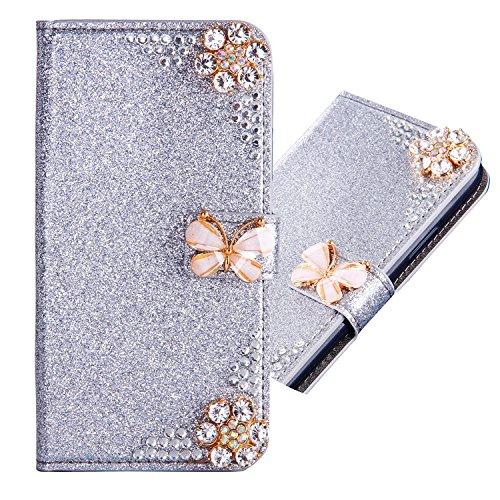 6City8Ni Magnétique Housse Coque Étui Bookstyle Ultra Slim Flip Wallet Butterfly Fleur Bling Glitter Brillante Diamant Protection[Porte-Cartes] Portefeuille Cover pour Samsung S10 Lite