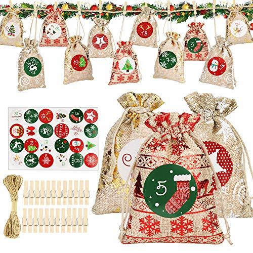 Etmury Adventskalender zum Befüllen - Stoffbeutel, 1-24 Adventszahlen Aufkleber, Weihnachten Geschenksäckchen, Adventskalender 2020, Weihnachtskalender Bastelset