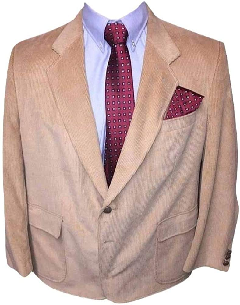 StoutMensShop Big and Tall 44 Short Portly Tan Corduroy Sport Jacket with Elbow Patches 44PS