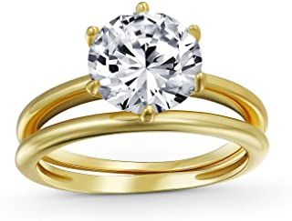 3CT Round Solitaire 6 Prong AAA CZ Engagement Anniversary Wedding Band Ring Set for Women 14k Gold Plate Sterling Silver