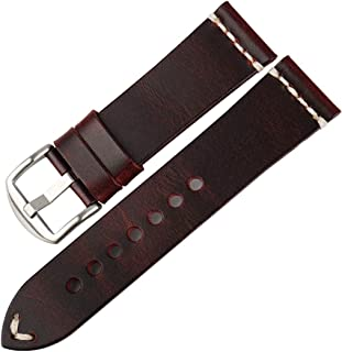 Watch Band 20mm 22mm 24mm, Vintage Oil Wax Leather (Greasedleather) Watch Strap 6 Colors Available Watchband