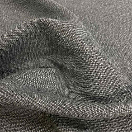 Kt KILOtela Tela de tapicería Lisa - Panamá algodón, Lino - Acabado Desgastado - Retal de 250 cm Largo x 140 cm Alto | Gris ─ 1 Metro
