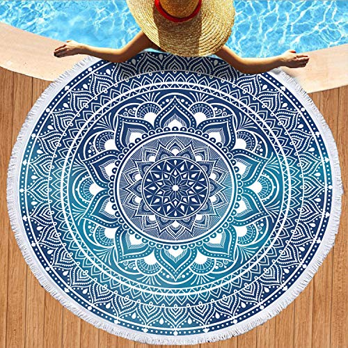 Hexagram Mandala Round Beach Towel,Oversized Micorfiber Beach Towel Blanket,Sand Proof and Quick Dry Boho Bath Yoga Mat 59 Inches
