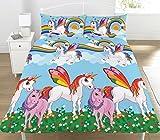 KidCollection - Rainbow Unicorns - Juego de Funda de edredón Reversible para Cama Individual/Doble, con diseño de Unicornios y arcoíris (Funda de edredón Doble)