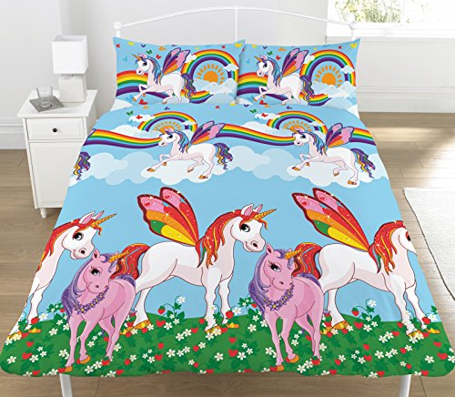 KidCollection Rainbow Unicorns Single/Double Reversible Duvet Cover Bed Set (Double Duvet Cover)