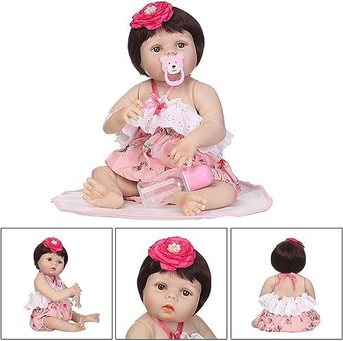 Suweqi Puppe, Weißh, für Neugeborene, Silikon, Realistisch, 55 cm, Spielzeug für Kinder, Geburtstag, Weißnachtsgeschenk