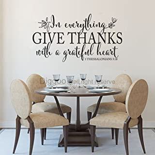 in Everything Give Thanks Wall Decal 1 Thessalonians 5:18 Scripture Wall Art Christian Home Decor (Black,8.6