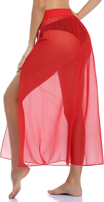 Faithtur Swimsuit Cover Ups for Women See Through Summer Beach Dress Size Slit Skirt Sexy Swimwear Bikini Cover-ups Plus Size