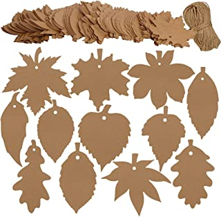 Supla 120 PCS Favor Tags Thank You Gift Tags Place Cards Name Tags Blank Cards Hang Tags Kraft Paper Tags Maple Fall Leaves Shape - 3.2