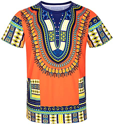 COSAVOROCK Herren Hippie Afrikanisches Traditionelle Dashiki T-Shirts Orange L