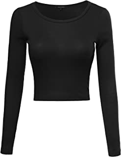 Awesome21 Women's Tight Fit Solid Striped Floral Lightweight Long Sleeves Crop Top
