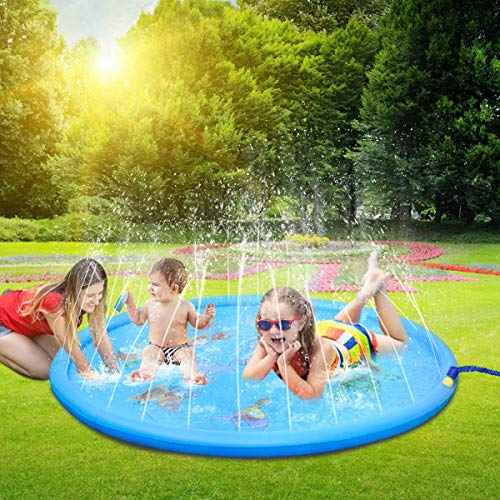 LEEHUR 67' Sprinkler Splash Play Mat Outdoor Summer Water Play Pad Toy Swimming Party Gift for Kids...