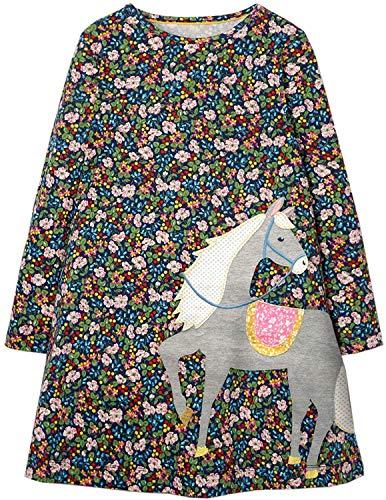 Ohbabyka Little Girls Cute Casual Baumwolle Tiere Gedruckt Streifen Langarm Playwear Kleid, Ads637, 7 Jahre
