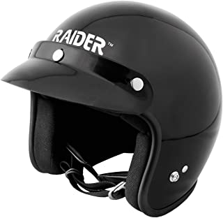 Raider 26-611-15 Open Face Motorcycle Helmet (Gloss Black, Large)