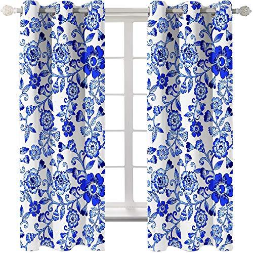 AmDxD 2 paneles de cortinas opacas de poliéster, cortinas para ventanas de cocina, diseño de flores, se pueden lavar a máquina, azul oscuro, 250 cm de ancho x 130 cm de largo