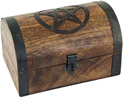 Anya Nana Ideal Gift Pentacle Design Wooden Chest 4x6 Trinket Box with Latch Pentagram
