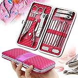 18 PCS Set de Manicura, Homga kit de pedicura manicura estuche de cuero Rose rojo-pedicura de acero...