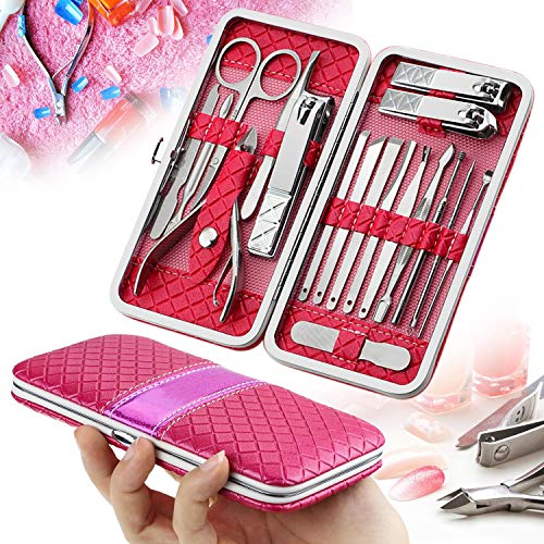 18 Stück Nagelknipser Sets, Calmare Maniküre Pediküre Kit mit Ledertasche Rose Rot-Edelstahl Pediküre Set Nagelpflege Kit