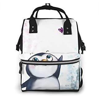 SOVJNOFVK Diaper Bag Backpack I Love Penguins Nappy Bag Diaper Bag Backpack Nappy Bags for Baby Care