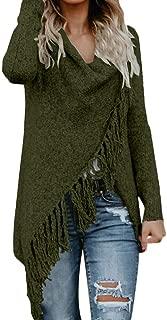 UONQD Women Tassel Long Shawl Sweater,Stripes Poncho Fall Tassels Slash Gradient Shawl Hem Fringe Loose Sweater