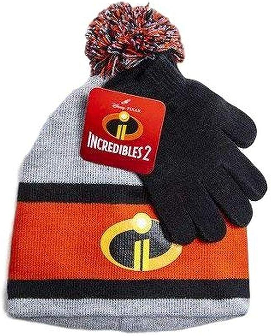 Incredibles 2 Disney Boys Beanie Winter Hat and Glove Set