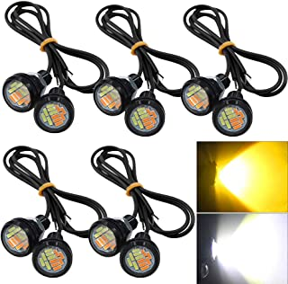 YITAMOTOR 10PCS Amber White 9W 12-SMD High Power Eagle Eye Led Lights Front Grille Back-Up Backup Fog Reversing Lights Car Motor DIY Bulbs