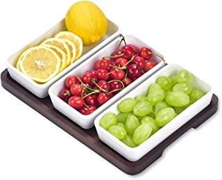 Generies Ceramic Snack Tray 3 Trays Serving Trays, 3 Rectangular Ceramic Bowls and Trays, Moisture-Proof Food Bowls, Snack...