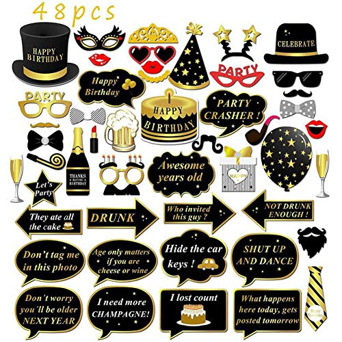Upriver 48PCS Happy Birthday Party Photo Booth Props,Black Funny and Gold Decorations Birthday Party Supplies Photobooth Party Props for Kids Adults Men and Women