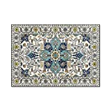Alfombra Moderna Antideslizante Alfombra Salón Grande Suaves Flor de Estilo Country Folk Azul 200 x 300 cm(6'6''x9'8'')